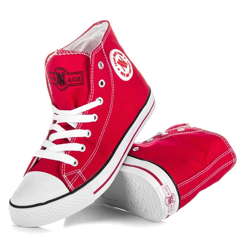9fb99e635504 Dámske červené členkové tenisky na šnurovanie - Dámske prádlo a doplnky