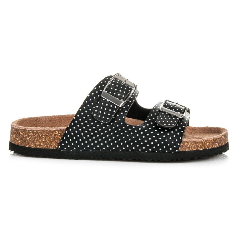 Dievčenské olivové korkové papuče s bodkovaným vzorom - Dámske ... 03a248912e0
