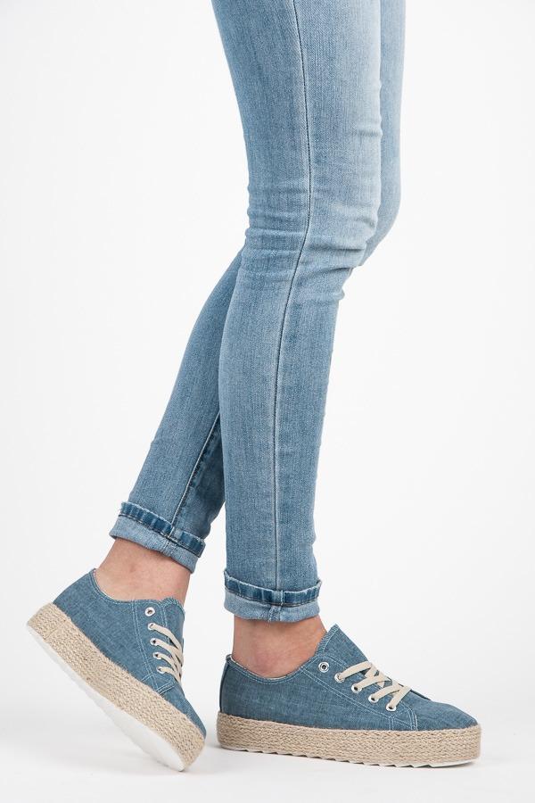 Džínsové modré tenisky na platforme - Dámske prádlo a doplnky b69618d402a