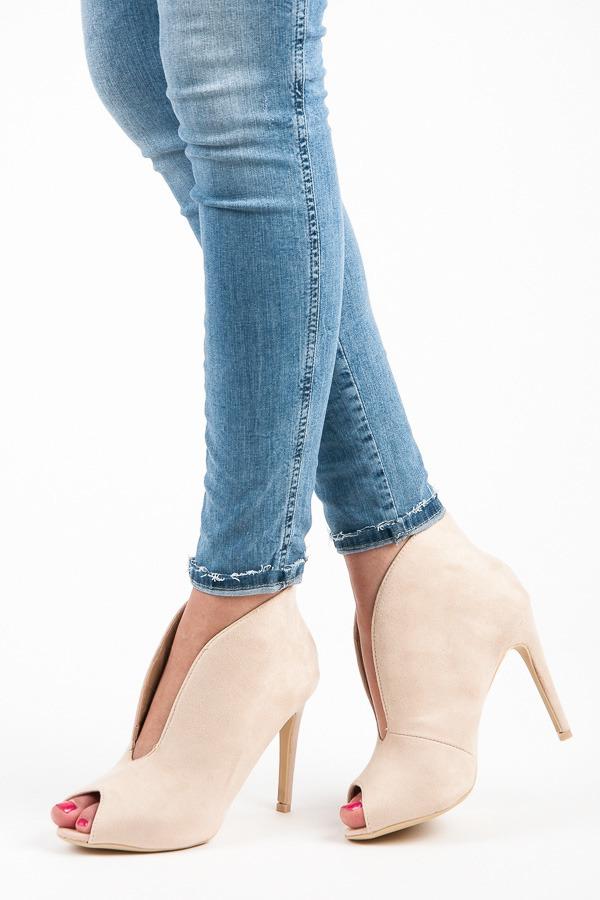 219cbca23c1d Elegantné béžové letné členkové topánky s otvorenou špičkou - Dámske ...