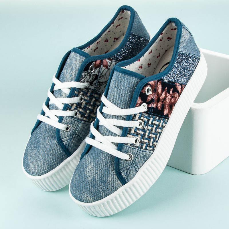 7cab73113a Luxusné modré tenisky na platforme - Dámske prádlo a doplnky