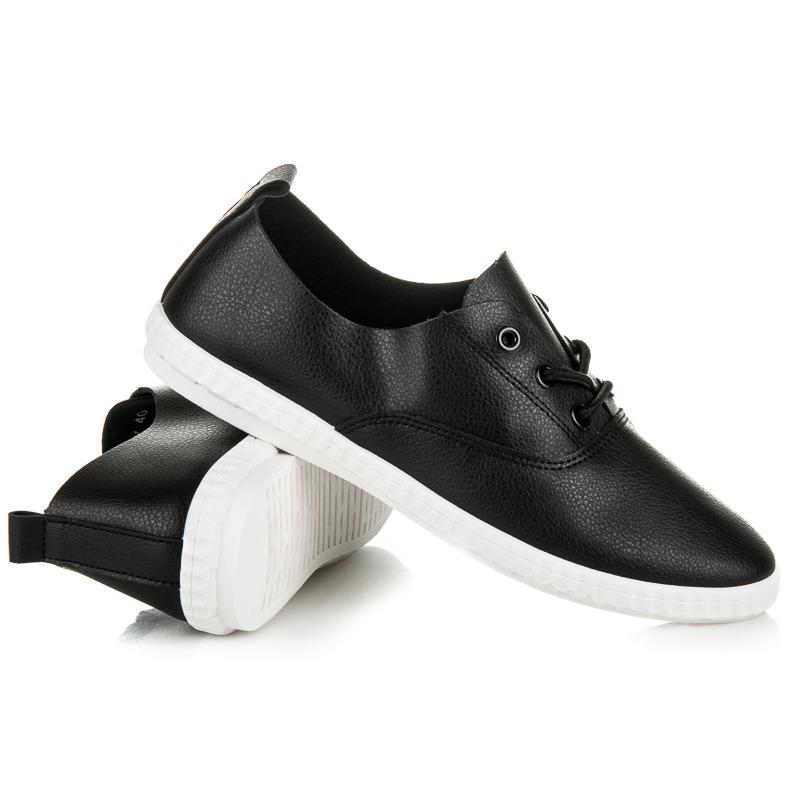 5aeb3f74074a Moderné lesklé čierne tenisky na šnurovanie - Dámske prádlo a doplnky