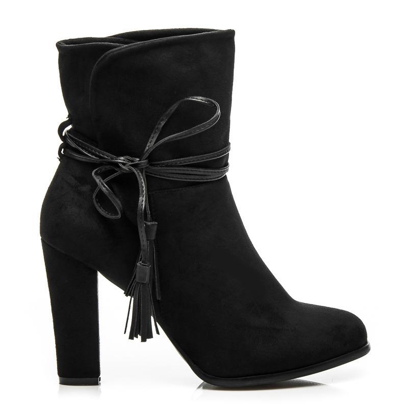 4c0c7769e2 Módne čierne členkové topánky s viazaním na bočnej strane - Dámske ...