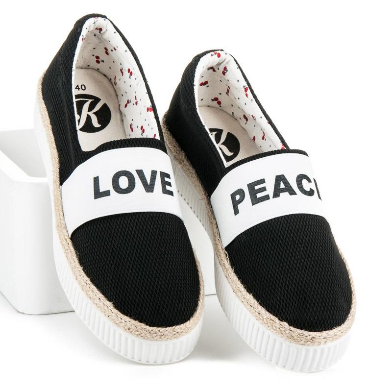03e6639db2 Pekné čierne tenisky s nápisom Love   Peace - Dámske prádlo a doplnky