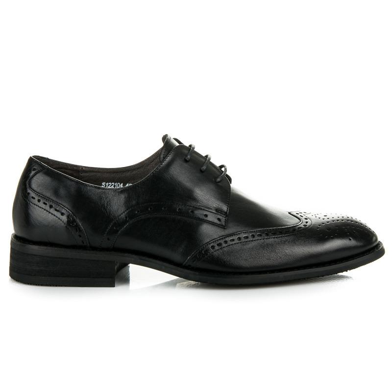 Pohodlné čierne pánske kožené poltopánky - Dámske prádlo a doplnky dab55c6a61d