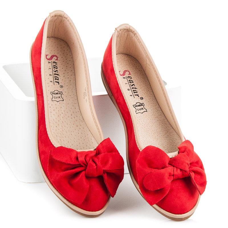 fcae1936e Rozkošné červené dámske baleríny s mašľou - Dámske prádlo a doplnky
