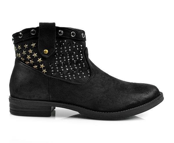 b379e9942edd Skvelé čierne členkové topánky s hviezdičkami - Dámske prádlo a doplnky