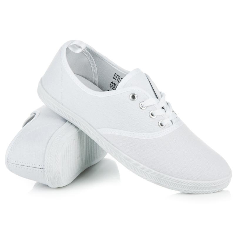 Textilné biele tenisky na šnurovanie - Dámske prádlo a doplnky 91df4fdbeab